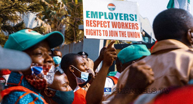 The Nigeria Labour Congress picketed the headquarters of the Corporate Affairs Commission in Abuja on February 24, 2021. Sodiq Adelakun/Channels TV