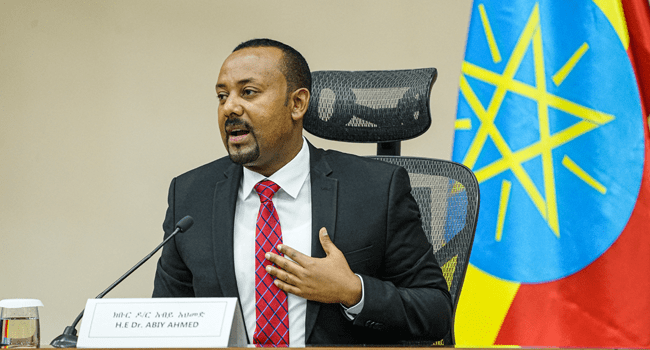 In this file photo taken on November 30, 2020 Ethiopian Prime Minister Abiy Ahmed speaks at the House of Peoples Representatives in Addis Ababa, Ethiopia, to respond to the Parliament on the current conflict between Ethiopian National Defence Forces and the leaders of the Tigray People's Liberation Front (TPLF). Amanuel Sileshi / AFP