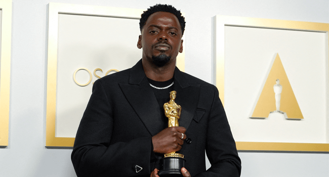 "Daniel Kaluuya, winner of the award for best actor in a supporting role for ""Judas and the Black Messiah,"" poses in the press room at the Oscars on April 25, 2021, at Union Station in Los Angeles. Chris Pizzello / POOL / AFP"