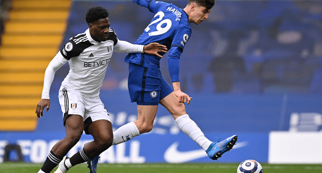 Chelsea's German midfielder Kai Havertz (R) shoots to score the opening goal of the English Premier League football match between Chelsea and Fulham at Stamford Bridge in London on May 1, 2021. Justin Setterfield / POOL / AFP