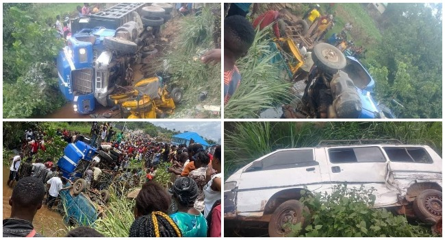 A combination of photos showing the aftermath of a truck which crashed into a stream in Imo on May 1, 2021.