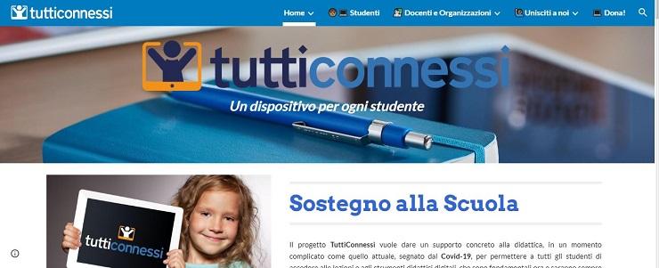 Solidarietà informatica per gli studenti bisognosi. Ecco la home page del sito TuttiConnessi