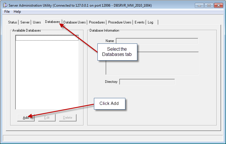 Select Databases Tab