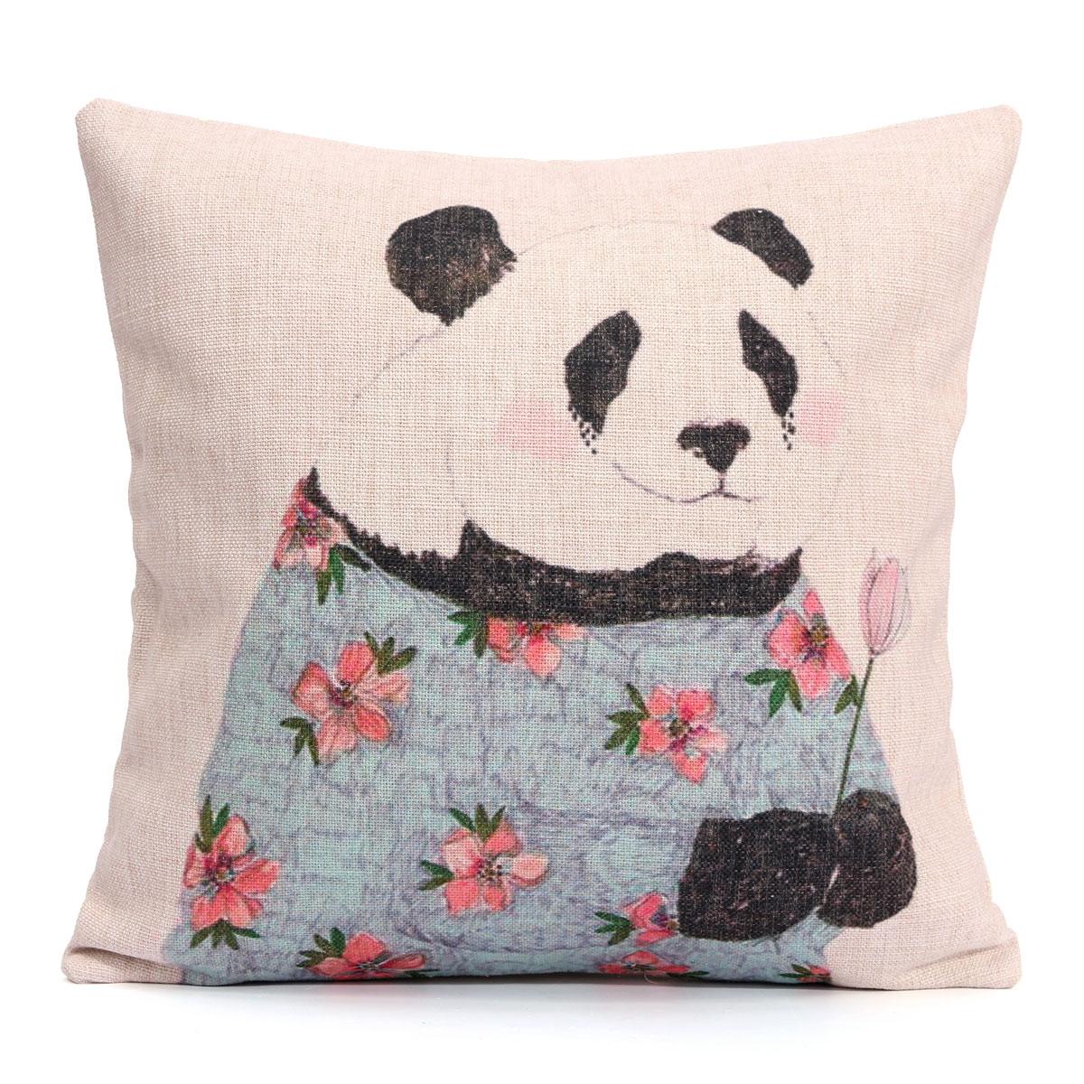 deer print sofa covers contemporary cute cotten linen panda cushion cover soft car throw