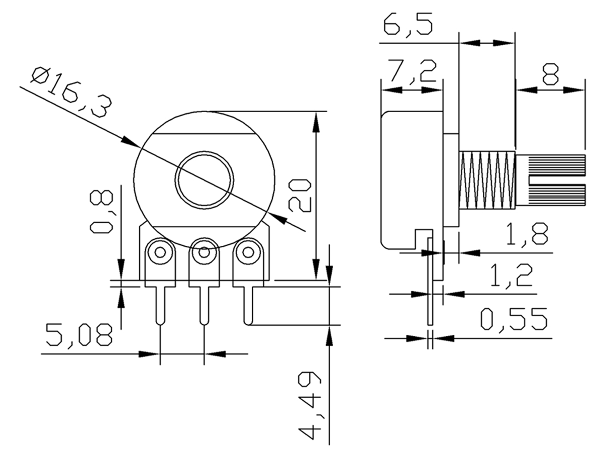 2pcs 1 5 10 20 50 100 250 500 K M Ohm Potentiometers Single Linear Potentiometer