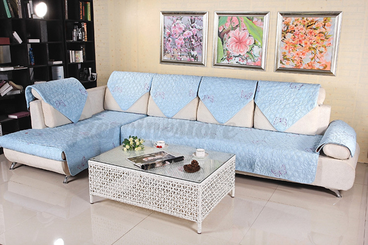 quilted embroidery sectional sofa couch slipcovers furniture protector cotton cheap corner sofas next day delivery
