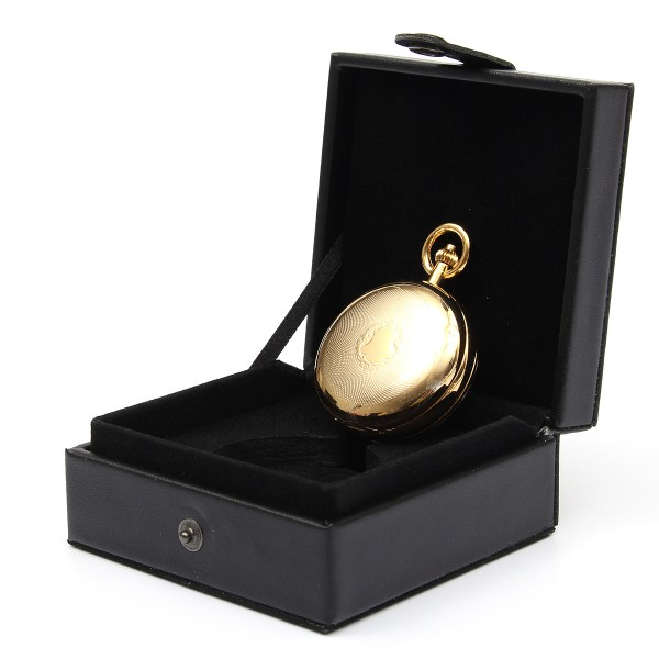 Black Leather Display Case Single Pocket Watch Jewel Chain