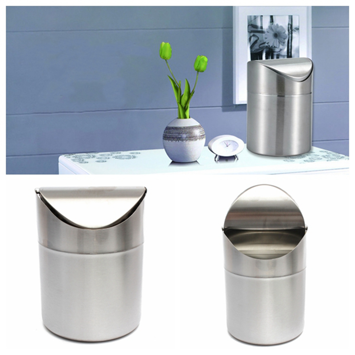kitchen stainless steel trash can cabinet updates 1 5l home table tidy dustbin