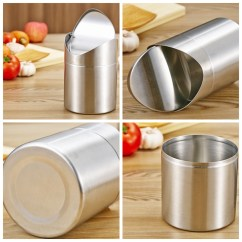 Kitchen Stainless Steel Trash Can Island In The 1 5l Home Table Tidy Dustbin