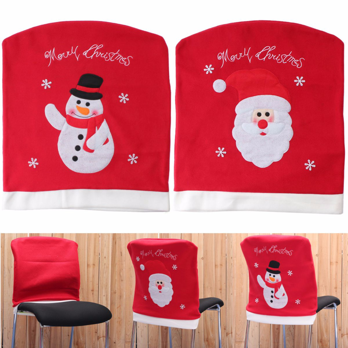 chair cover christmas decorations proper posture in back santa claus snowman dinner