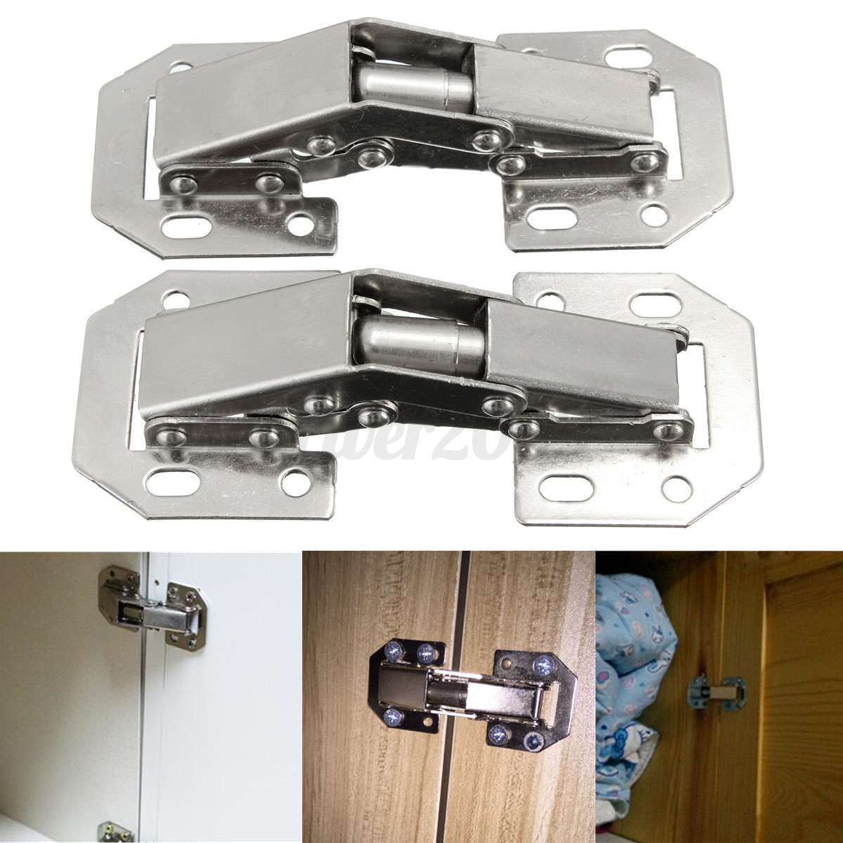 kitchen cabinet hardware hinges stainless sink 2pcs 90 degree concealed cupboard spring