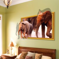3D Removable Animals Window View Wall Sticker Decals Mural ...