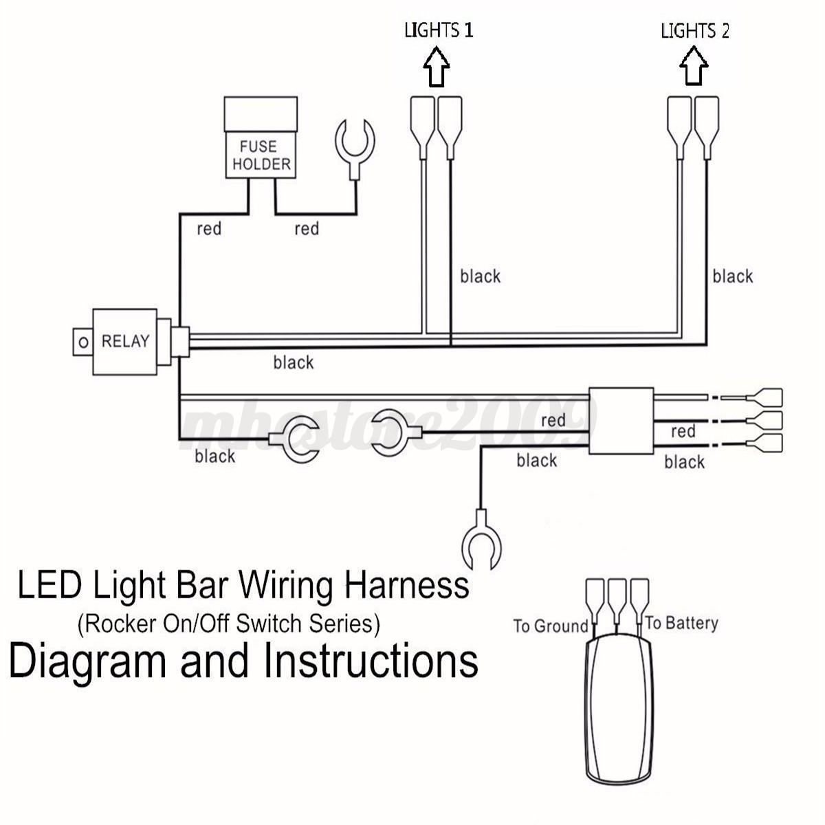 5 pin relay wiring diagram light bar extension cord auf deutsch red led laser rocker on/off switch & fuse harness loom | ebay