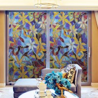 45cm Static Cling Cover Stained Flower Window Glass Film ...