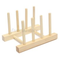 3/7 Dish Rack Pots Wooden Plate Stand Wood Kitchen Cups ...