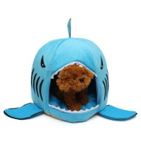 Round Shark Mouth Pet Bed Dog Cat Puppy Cozy Warm Cushion ...