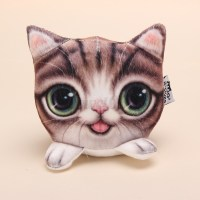 Cute 3D Cat Face Soft Plush Pillow Car Case Trendy Covers ...