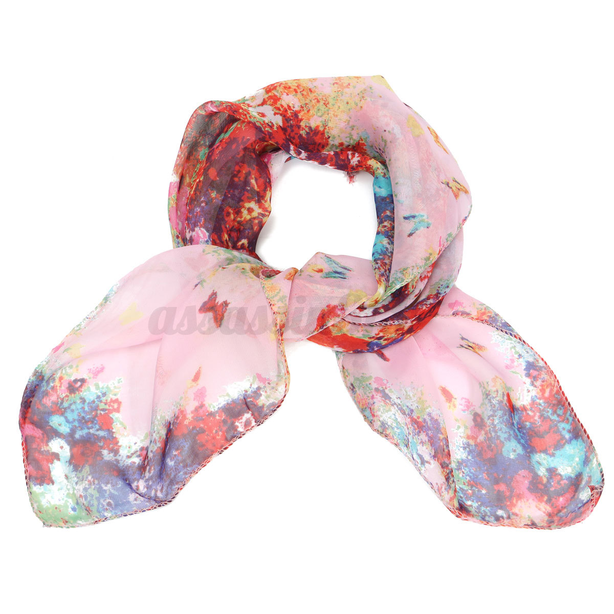 Women Soft Silk Chiffon Scarf Small Square Flower Short