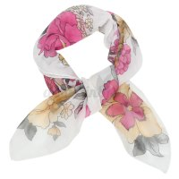 Women Soft Silk Chiffon Scarf Small Square Flower Short