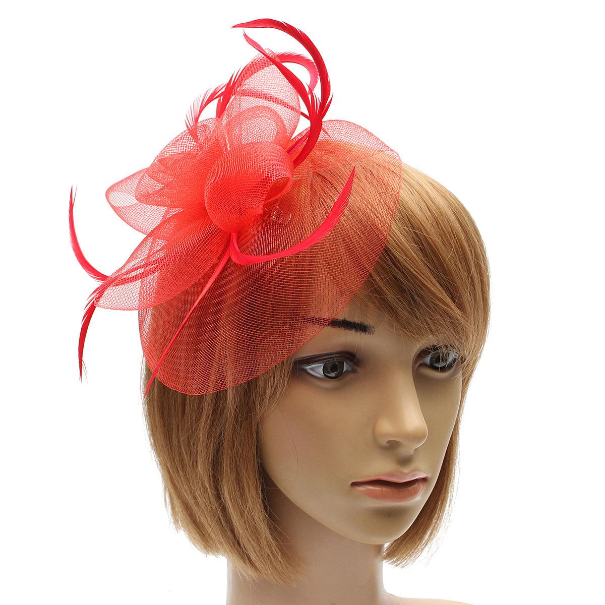 Hair Clip Women Fascinator Feathers Headpieces Flower Wedding Party Headband New  eBay
