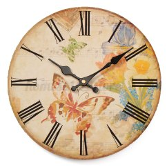 Retro Kitchen Wall Clock Metal Table Large Vintage Rustic Wooden Antique