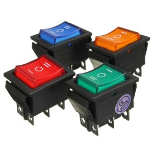 6 Pin Mini on Off on Rocker Switch DPDT with LED