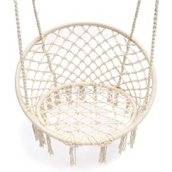 Macrame Hammock Chair Childrens Folding Chairs 2 Beige Hanging Cotton Rope Swing