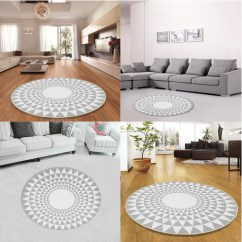 Grey Living Room Area Rugs Display Cabinets 60 80 100 120cm Triangle Round Carpet Detail Image