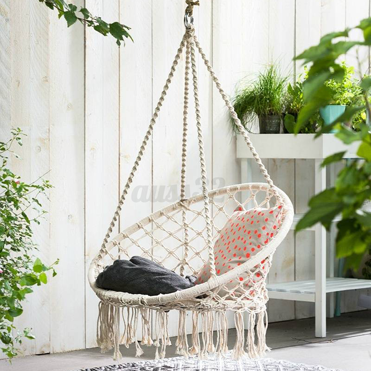 chair swings bedroom crate and barrel dining covers beige hanging cotton rope macrame hammock swing