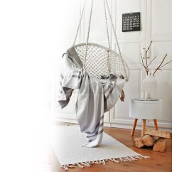 Macrame Hammock Chair Clip On Umbrella For Beige Hanging Cotton Rope Swing