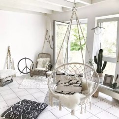 Hanging Chair In Living Room Nfl Folding Chairs Beige Cotton Rope Macrame Hammock Swing
