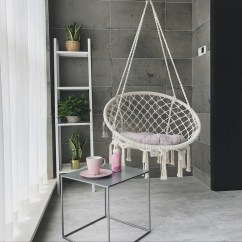 Macrame Hammock Chair Posture And Ottoman Set White Beige Hanging Cotton Rope Swing