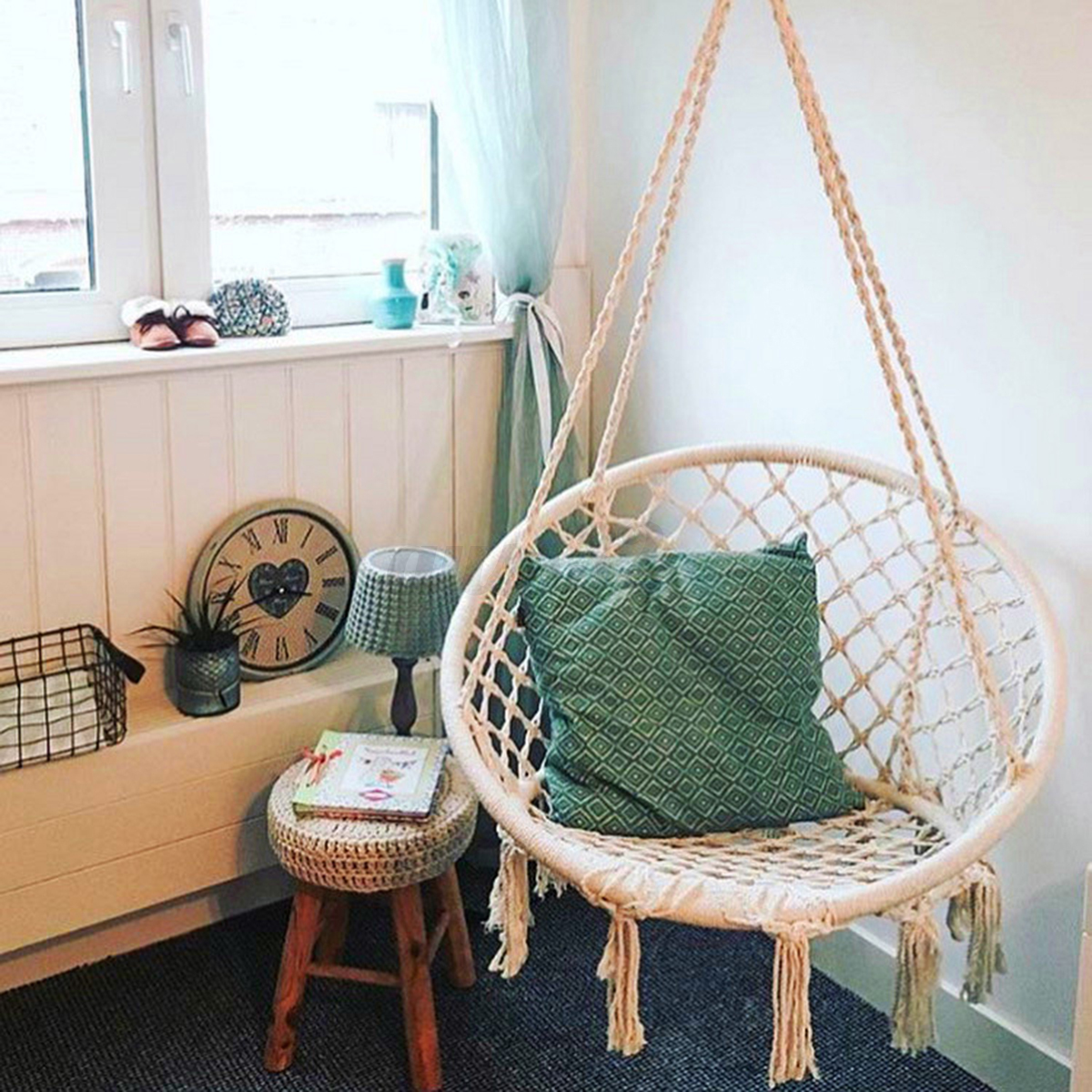 hanging chair ebay personalized folding chairs beige cotton rope macrame hammock swing