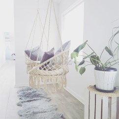 Macrame Hammock Chair Wicker Porch Chairs Beige Hanging Cotton Rope Swing