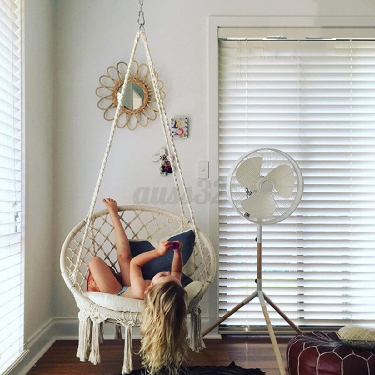 macrame hammock chair how much does a pedicure cost beige hanging cotton rope swing