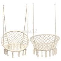 Beige Hanging Cotton Rope Macrame Hammock Chair Swing ...