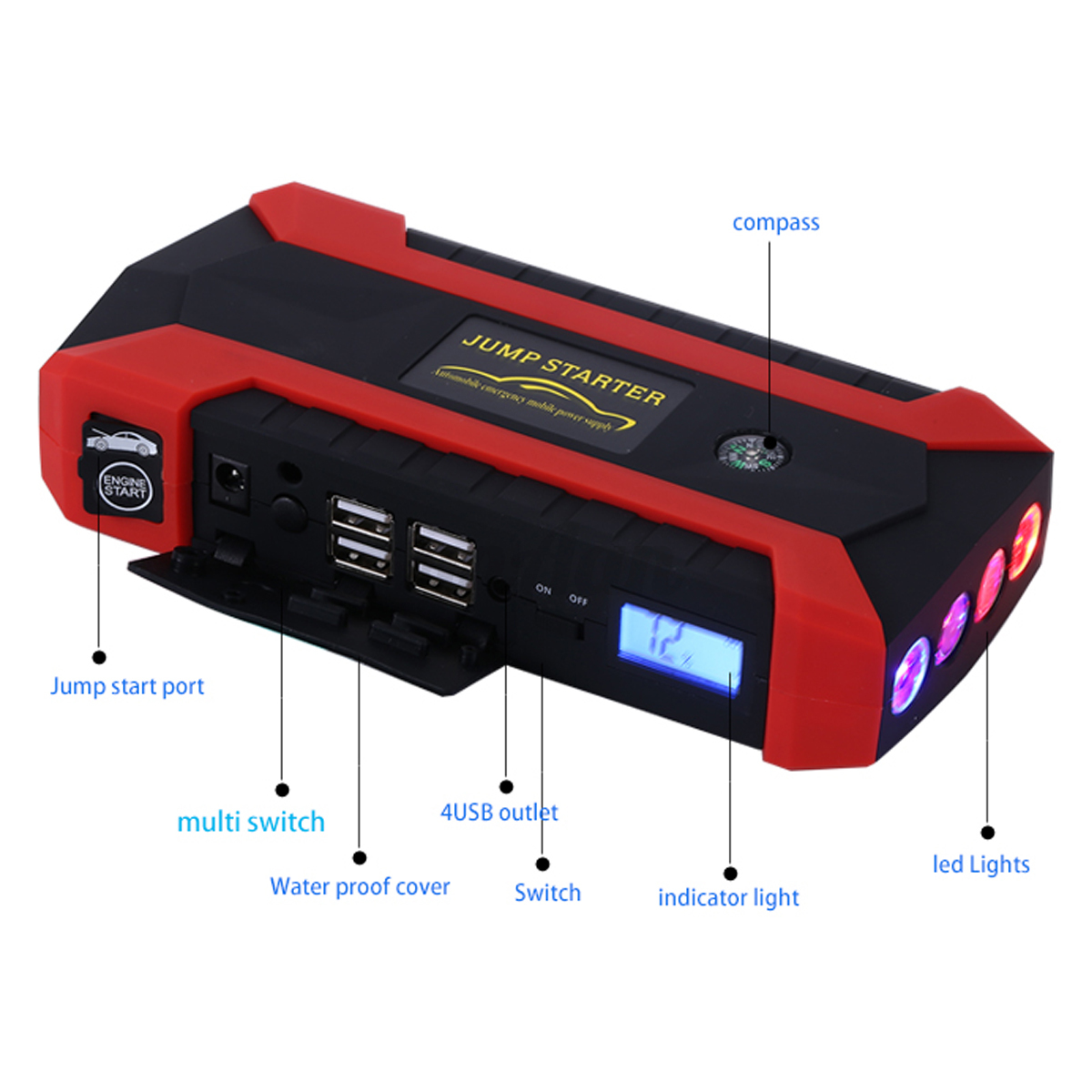 12v starterbatterie f r fiat wm diagram of coronary arteries and branches 89800mah 4 usb car jump starter pack booster charger