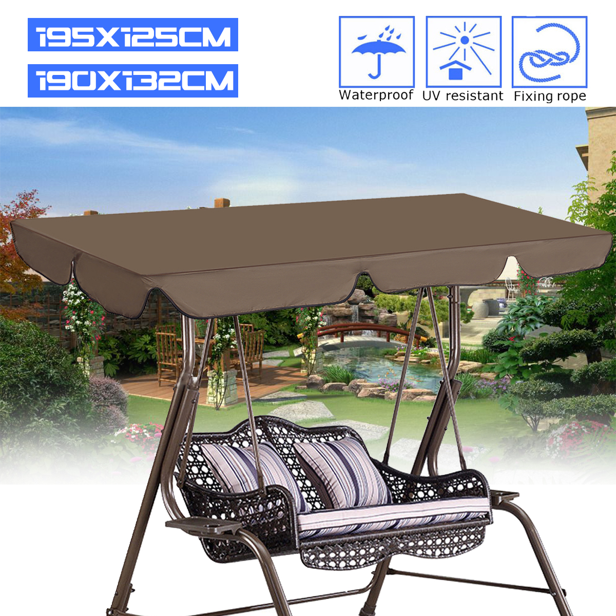 2 Size Outdoor Patio Swing Canopy Top Replacement Cover