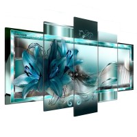 5 Panel Canvas Print Modern Abstract Flower Picture Giclee