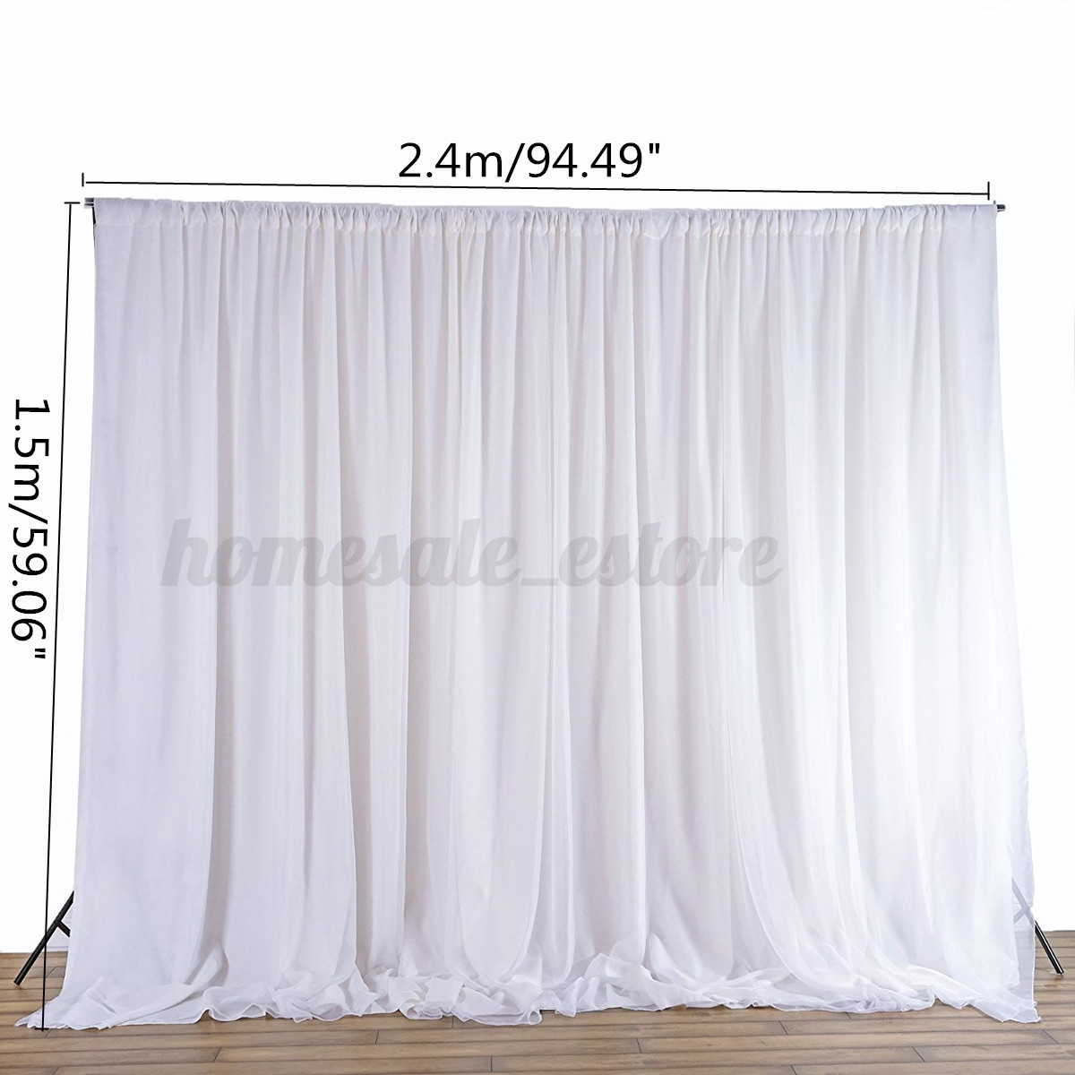 24M White Wedding Party Backdrop Curtain Drapes