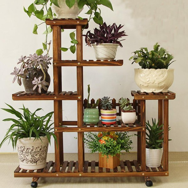 Pine Wooden Plant Stand Indoor Outdoor Garden Planter Flower Pot Shelf