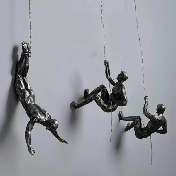 Handmade Global Climbing View Iron Man Rope Wall Mounted Art Sculpture Climber