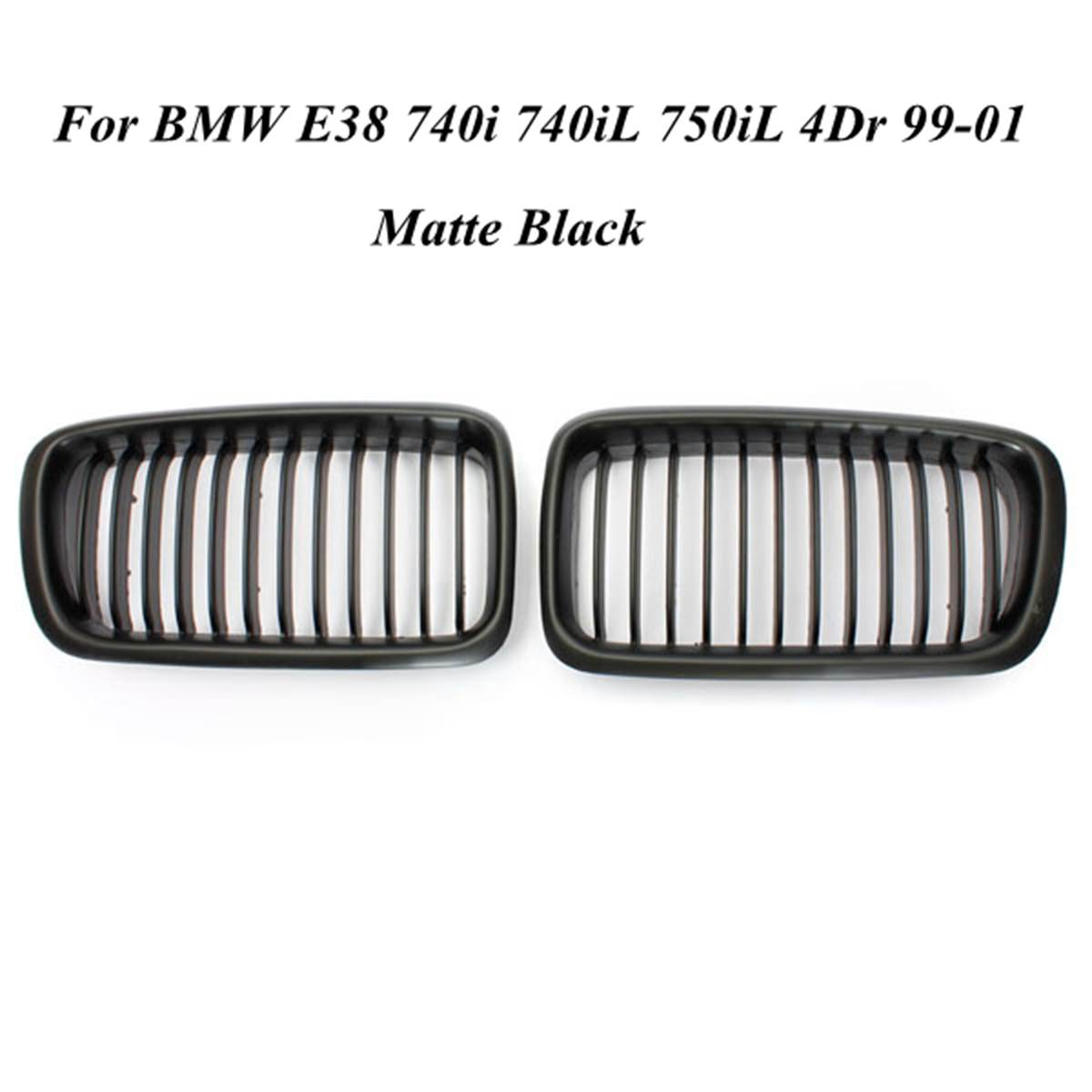 Pair Front Hood Grille Grill Matte Black For BMW E38 740i