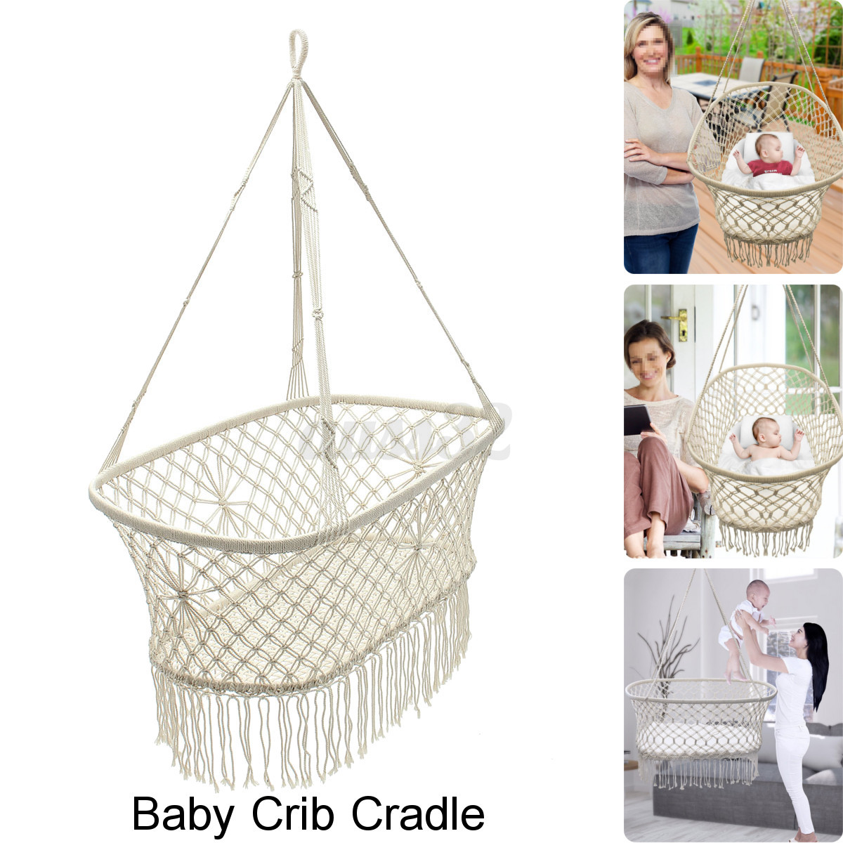 swing chair baby age wicker dining chairs uk white hanging rope macrame hammock
