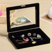Glass Velvet Jewelry Box Earring Ring Display Case