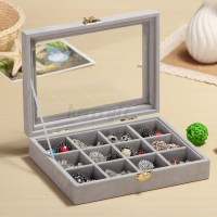 UK Velvet Ring Display Jewelry Organizer Case Tray Earring