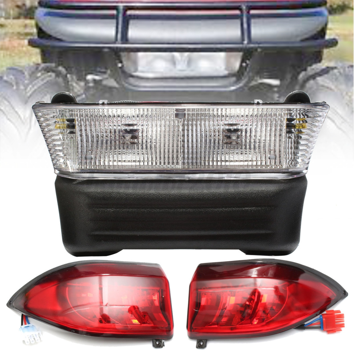 golf cart headlights wiring diagram double two way light switch halogen headlight taillight kit for club car precedent