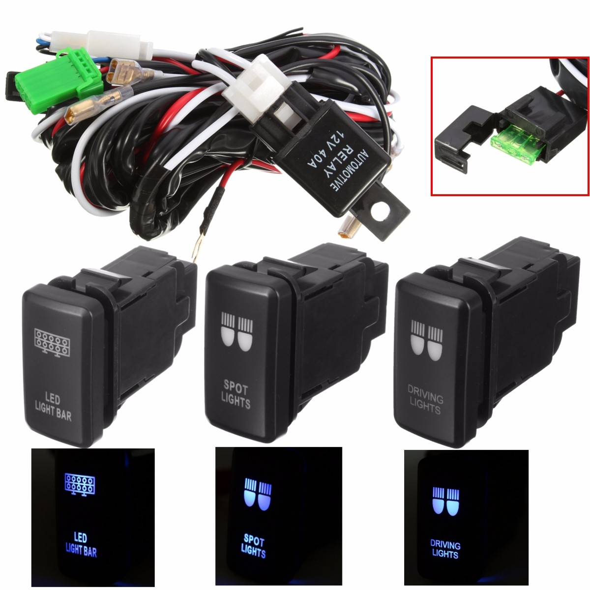 hight resolution of led driving light wiring loom harness relay 40a switch for toyota hiace hilux fj 6132227683088 ebay