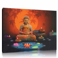 Large Modern Abastract Buddha Canvas Print Wall Art ...