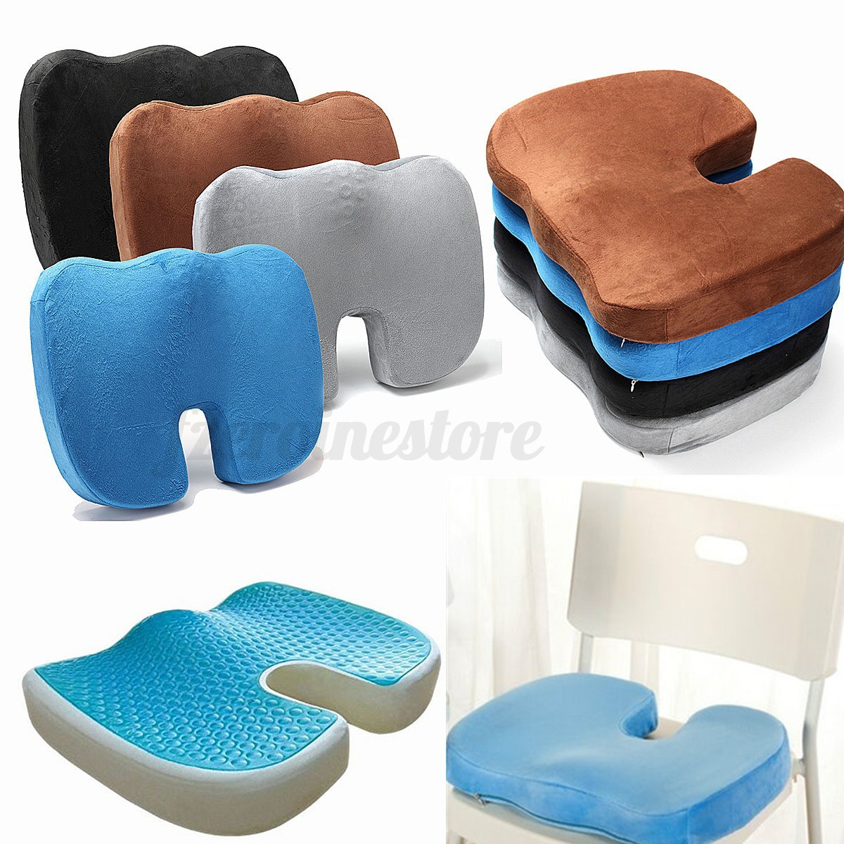gel cushion for chairs fan back chair coccyx orthopedic enhanced comfort memory foam seat